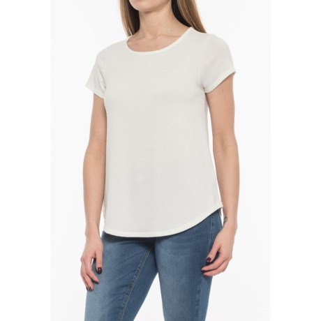 Cupio Blush Solid Endless Knit T-Shirt -Short Sleeve (For Women) in Ivory