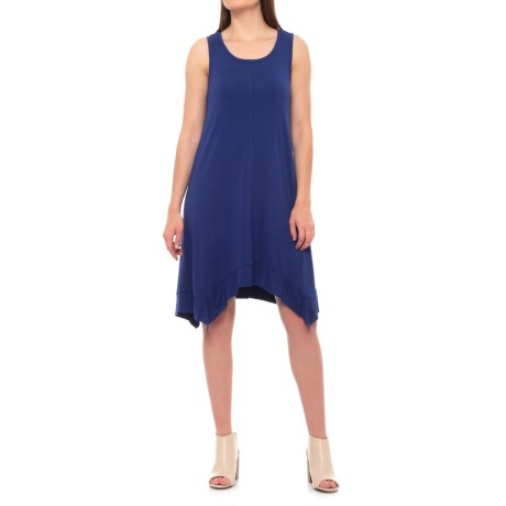 Cupio Blush Viscose Rib Trim Dress - Scoop Neck, Sleeveless (For Women) in Smooth Sailing