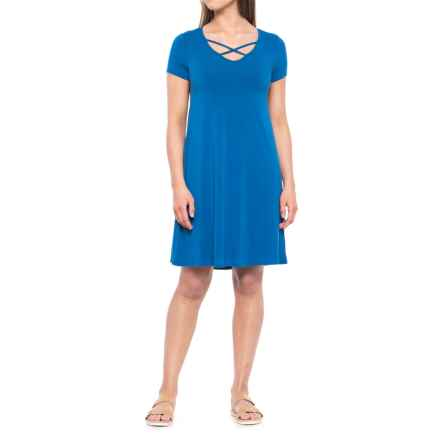 Cupio Blush Viscose-Spandex Dress - V-Neck, Short Sleeve (For Women) in Fresh Water Blue/Antique Silver Metal - Overstock