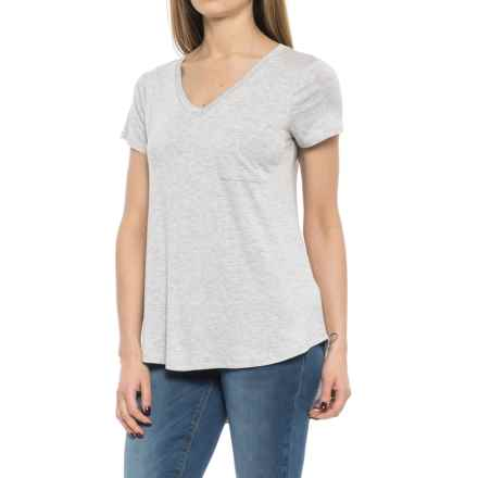 Cupio Blush Viscose-Spandex Shirt - V-Neck, Short Sleeve (For Women) in Heather Grey - Overstock