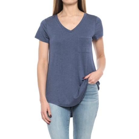 Cupio Blush Viscose-Spandex Shirt - V-Neck, Short Sleeve (For Women) in Marine Heather