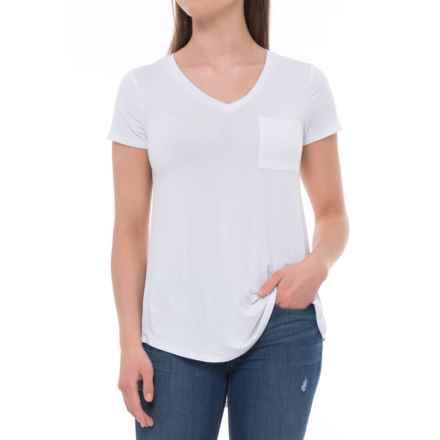 Cupio Blush Viscose-Spandex Shirt - V-Neck, Short Sleeve (For Women) in White - Overstock