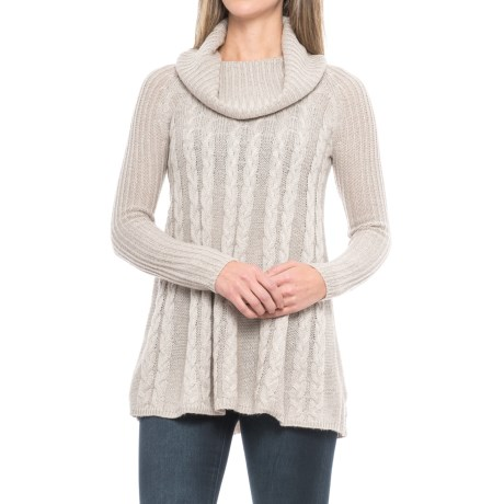 Cupio Cable-Knit Swing Sweater - Cowl Neck (For Women) in Light Gray