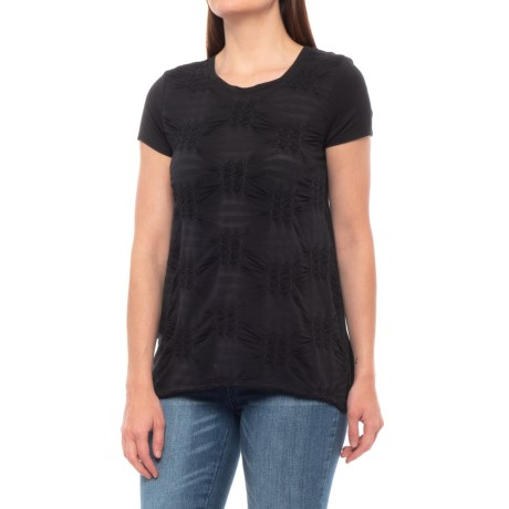 Cupio Dimensional Pleated Burnout T-Shirt - Short Sleeve (For Women) in Black/Black