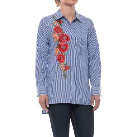 Cupio Embroidered Blouse - Long Sleeve (For Women) in Dark Blue/White - Closeouts