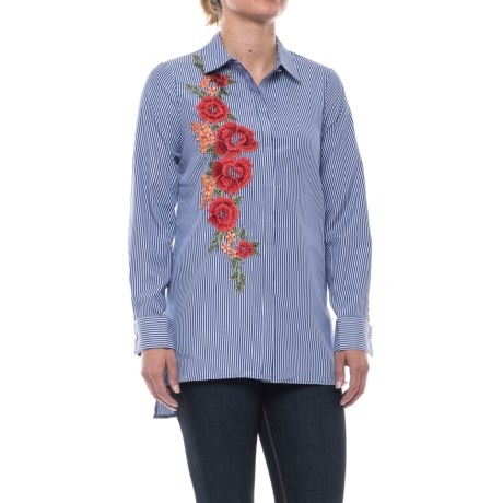Cupio Embroidered Blouse - Long Sleeve (For Women) in Dark Blue/White