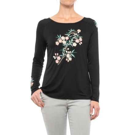 Cupio Embroidered Boat Neck Shirt - Long Sleeve (For Women) in Black - Closeouts
