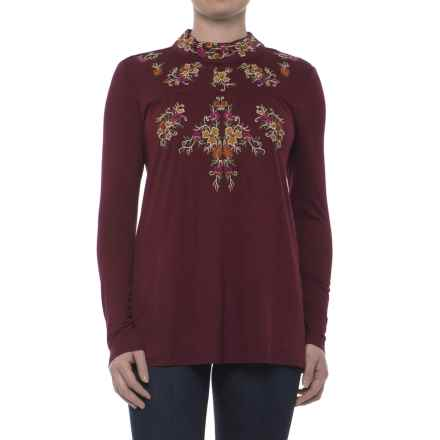Cupio Embroidered Jersey Shirt - Keyhole Button Back, Long Sleeve (For Women) in Sweet Wine/Rustic Floral - Closeouts
