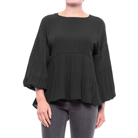 Cupio Georgette Release Pleat Blouse - Long Sleeve (For Women) in Black