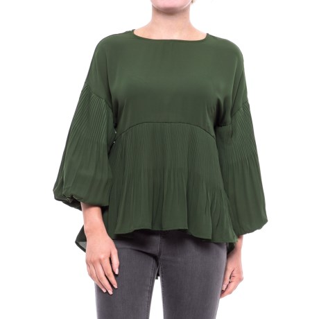 Cupio Georgette Release Pleat Blouse - Long Sleeve (For Women) in Dark Meadow