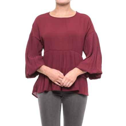 Cupio Georgette Release Pleat Blouse - Long Sleeve (For Women) in Sweet Wine - Closeouts