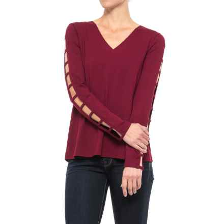 Cupio Ladder-Sleeve V-Neck Shirt - Long Sleeve (For Women) in Sweet Wine - Closeouts