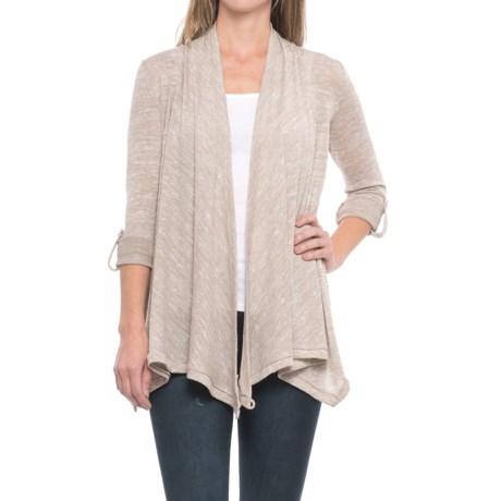 Cupio Roll-Tab Sleeve Drape Cardigan Sweater (For Women) in Sahara