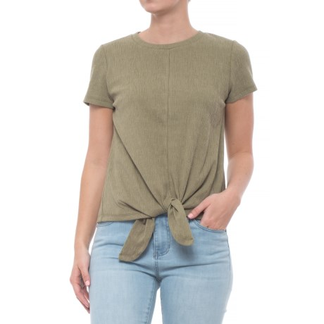 Cupio Textured Tie-Front Shirt - Short Sleeve (For Women) in Pale Green Olive