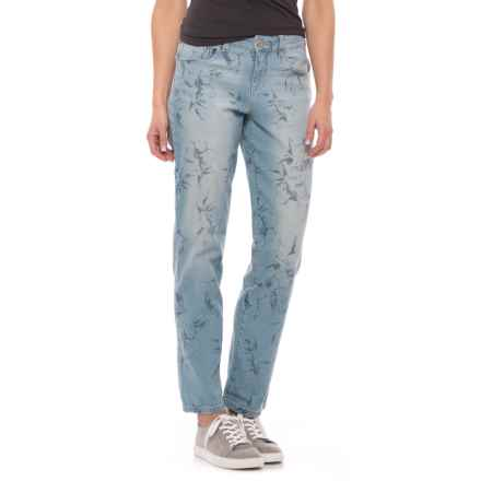 Curvy Boyfriend Ankle Jeans (For Women) in Denim Floral Outline Print - 2nds