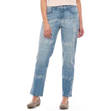 Curvy Boyfriend Ankle Jeans (For Women) in Denim Paisley Print - 2nds