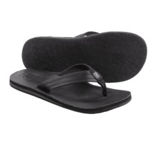 Cushe Fresh Leather Flip-Flops (For Men) in Black - Closeouts