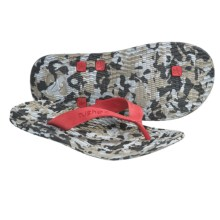 Cushe Manuka Fossil-Flop Sandals - Flip-Flops (For Men) in Grey/Red Camo - Closeouts