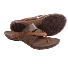 Cushe Radiance Thong Sandals - Leather (For Women) in Dark Brown/Tan - Closeouts