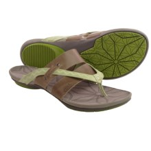 Cushe Radiance Thong Sandals - Leather (For Women) in Light Grey/Lime - Closeouts