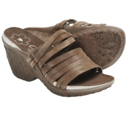 Cushe Weave Sandals - Leather, Wedge Heel (For Women) in Black