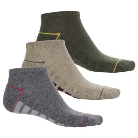 Cushioned No-Show Socks - 3-Pack, Below the Ankle (For Big Boys) in Gray/Green/Tan - Overstock