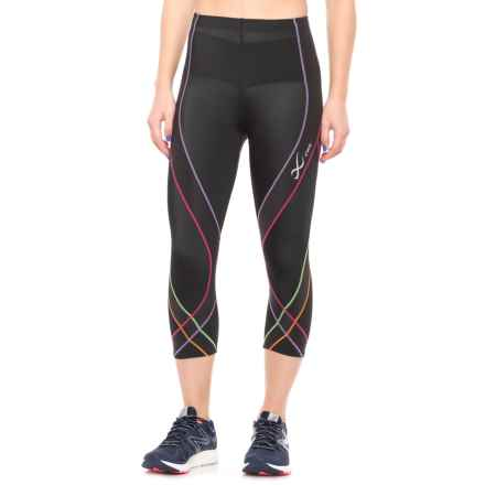 CW-X Pro 3/4 Running Capris - UPF 50+ (For Women) in Black/Rainbow - Closeouts