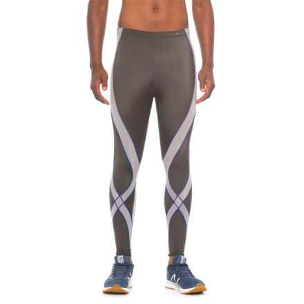 CW-X Pro CoolMax® Tights - UPF 40+ (For Men) in Grey/Light Grey/Blue - Closeouts