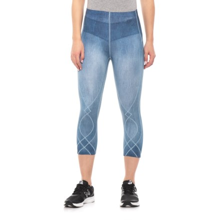 29b230e27dd91f CW-X Stabilyx Printed Capris (For Women) in Denim Blue - Closeouts