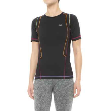 CW-X Ventilator Web T-Shirt - UPF 50+, Short Sleeve (For Women) in Black/Rainbow - Closeouts