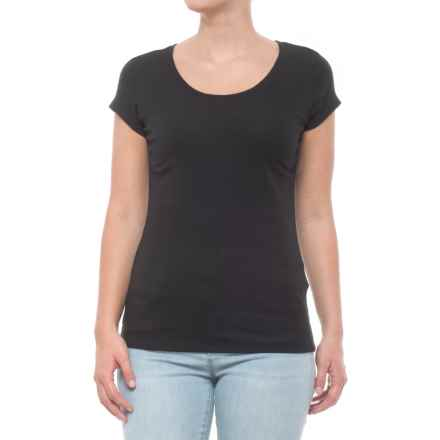 Cynthia Rowley 1x1 Scoop Straight-Hem T-Shirt - Short Sleeve (For Women) in Black - Closeouts