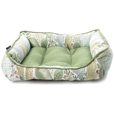 "Cynthia Rowley Arizona Cacti Cuddler Dog Bed - 24x19"", Reversible in Sage"