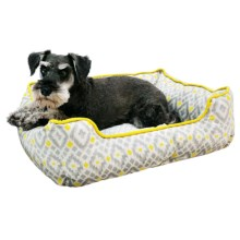 "Cynthia Rowley Aztec Cuddler Dog Bed - 24x19"" in Yellow - Closeouts"