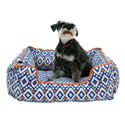 """Cynthia Rowley Aztec Lounger Dog Bed - 28x22"""" in Blue - Closeouts"""