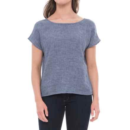 Cynthia Rowley Back-Tie Dolman Linen Shirt - Short Sleeve (For Women) in Indigo/Navy Ribbon - Closeouts