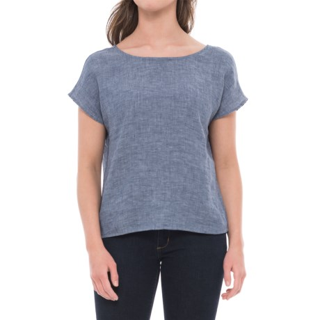 Cynthia Rowley Back-Tie Dolman Linen Shirt - Short Sleeve (For Women) in Indigo/Navy Ribbon