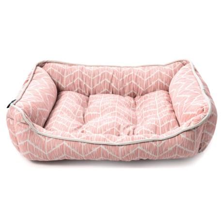 "Cynthia Rowley Caravan Geo Chevron Cuddler Dog Bed - 24x19"", Reversible in Coral Taupe"