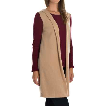 Cynthia Rowley Cashmere Cardigan Vest - Hooded (For Women) in Sandstorm - Closeouts