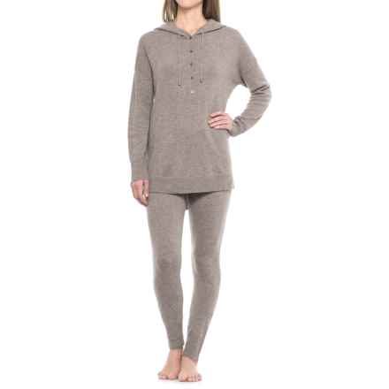 Cynthia Rowley Cashmere Hooded Sweater and Pants Lounge Set (For Women) in Taupe Night Heather - Closeouts