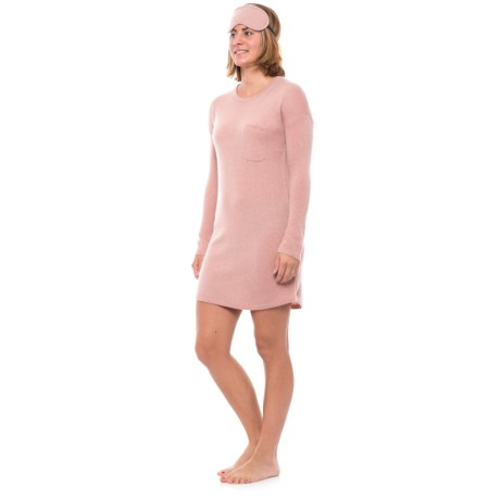 Cynthia Rowley Cashmere Pocketed Nightshirt - Scoop Neck, Long Sleeve  (For Women) in Pink Mist Solid