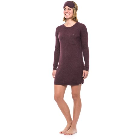 Cynthia Rowley Cashmere Pocketed Nightshirt - Scoop Neck, Long Sleeve  (For Women) in Raisin Heather