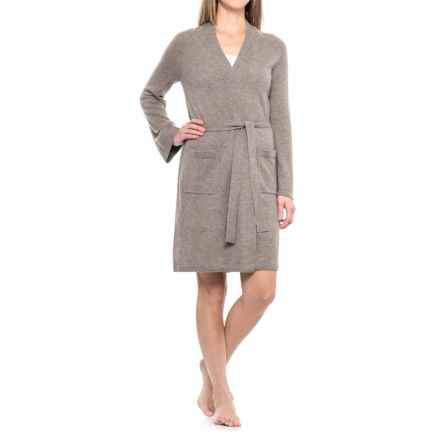 Cynthia Rowley Cashmere Robe - Long Sleeve (For Women) in Taupe Night Heather - Closeouts