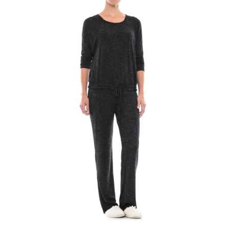 Cynthia Rowley Cinched Hem Pajamas - Long Sleeve (For Women) in Black/Metal - Closeouts