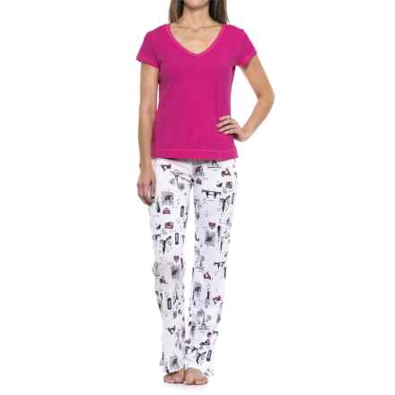 Cynthia Rowley City Love Pajamas - Cotton-Modal, Short Sleeve (For Women) in Pink/City Love Navy - Closeouts