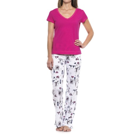 Cynthia Rowley City Love Pajamas - Cotton-Modal, Short Sleeve (For Women) in Pink/City Love Navy
