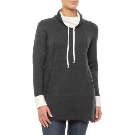 05504a9ad41 Cynthia Rowley Contrast Tunic Sweater (For Women) in Volcano Ash  Heather/Ivory Solid