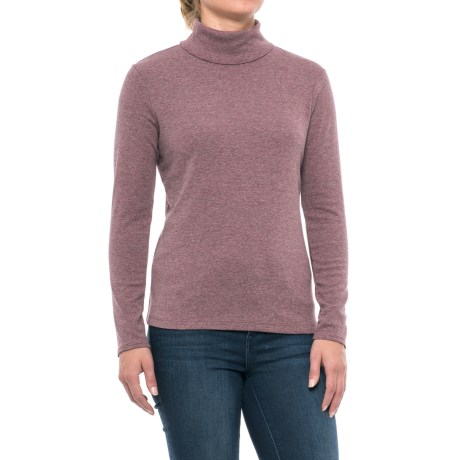Cynthia Rowley Core Turtleneck - Pima Cotton-Modal, Long Sleeve (For Women) in Maroon Heather