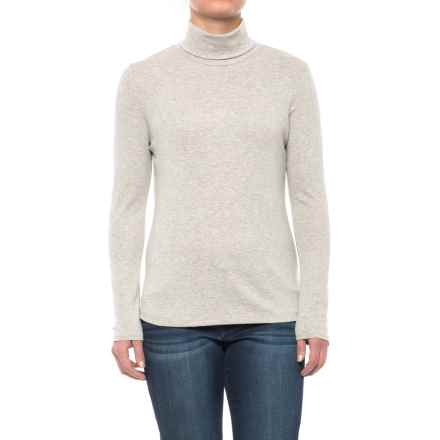 Cynthia Rowley Core Turtleneck - Pima Cotton-Modal, Long Sleeve (For Women) in Medium Oatmeal Heather - Closeouts