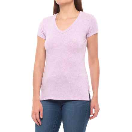 Cynthia Rowley Cotton-Modal Shirt - V-Neck, Short Sleeve (For Women) in Lilac Heather - Closeouts