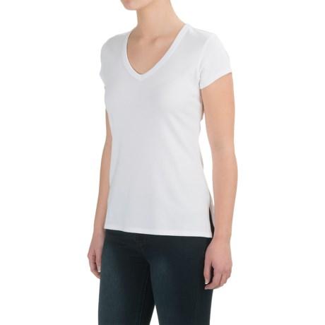 Cynthia Rowley Cotton-Modal Shirt - V-Neck, Short Sleeve (For Women) in White